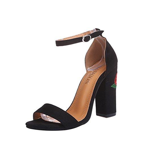 Signore Peep Blocco Scarpe Alti Sandali Tacco Fibbia Toe Fiore Vintage ZKOOO Festa Nero Sandalo Donna Ricamo delle zvppqY