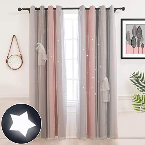 Hughapy Star Curtains Stars Blackout Curtains for Kids Girls Bedroom Living Room Colorful Double Layer Star Cut Out Stripe Window Curtains, 1 Panel (42W x 63L, Pink / Grey)