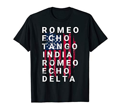 US Army Retired T Shirt Phonetic Military Alphabet Gift Tee