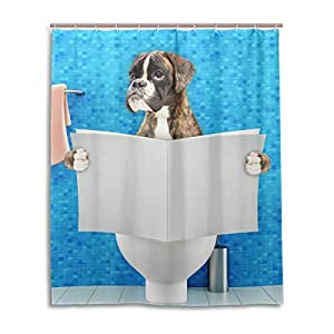 Chen Miranda Waterproof Shower Curtain for Everday Use Boxer Dog Bathroom Set Polyester Fabric Shower Curtain with Hooks 60x72 inch 9