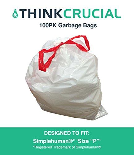 Think Crucial 100PK Durable Garbage Bags Fit Simplehuman Siz