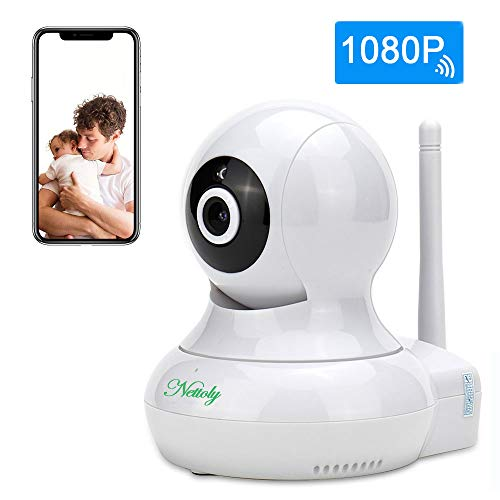 Security Cameras WiFi IP 1080P Camera Wireless Surveillance Cameras Dog/Baby Monitor Video Cam Night Vision Plug/Play Pan/Tilt with Two-Way Audio 1+3M Power Cable Extension Cable Nettoly