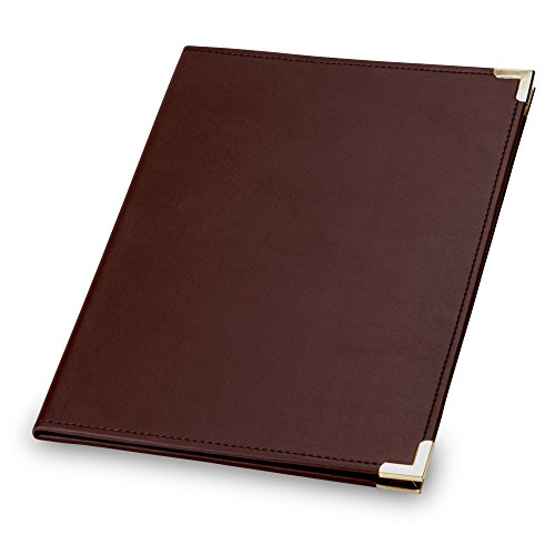 Samsill Classic Collection Business Padfolio/Executive Portfolio, Faux Leather & Brass Corners, Resume Document Organizer, 8.5 x 11 Writing Pad, Burgundy