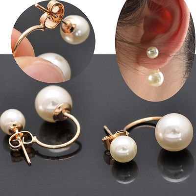 New Women's Stud Earrings Gold Filled Double White Freshwater Pearl Jewelry by ()