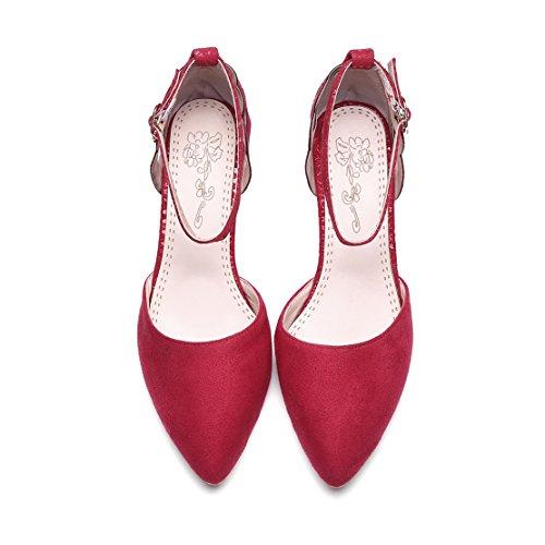 AIYOUMEI Kleiner Absatz Pumps mit Knöchelriemchen und 5cm Absatz Kitten Heels Damen Rot