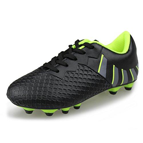 Hawkwell Comfortable Soccer Shoes(Toddler/Little Kid/Big Kid),Black Green PU,1 M US