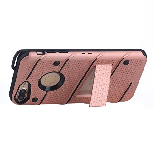 MXNET IPhone 7 Plus Case, Charm Knight Abnehmbare PC + TPU Kombination Schutzhülle mit Halter CASE FÜR IPHONE 7 PLUS ( Color : Rose gold )