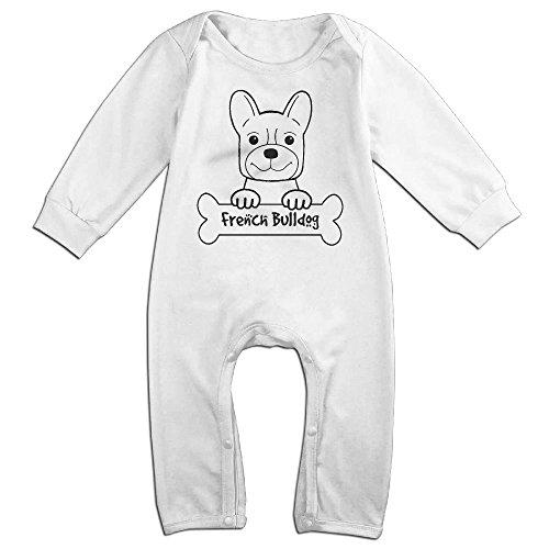 Baby-Girls-Boys-Bull-Dog-Long-Sleeve-Climb-Jumpsuit-White
