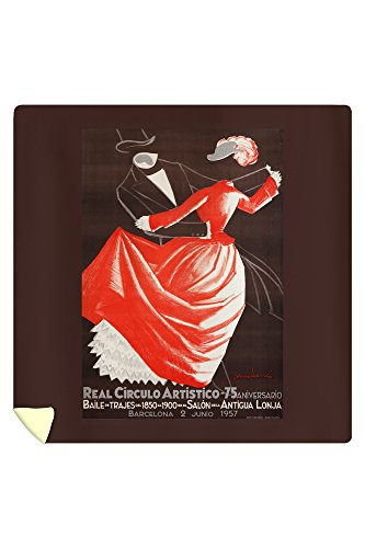 Real Circulo Artistico - 75 Aniversario Vintage Poster (artist: Muntane) Spain c. 1957 (88x88 Queen Microfiber Duvet Cover) by Lantern Press