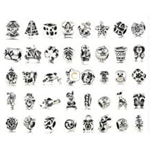 BeautyLife 40 Pcs Vintage Style Silver Plated Oxidized Metal Beads Charms Set Mix Lot - Compatible with Pandora Biagi Troll Chamilia Bracelets