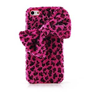 SJT Leopard Grain Bowknot Textile Back Case for iPhone 5/5S