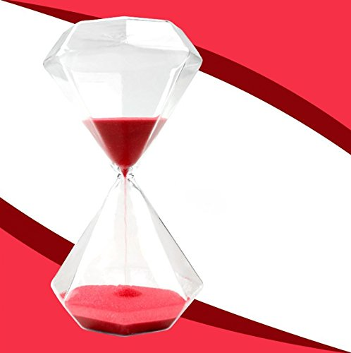 Diamond Hourglass (Graces Dawn Diamond glass Hourglass Sand Timer 60 minutes with (red))