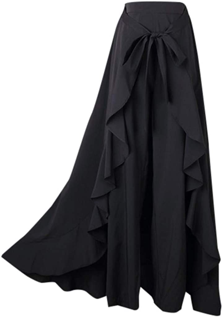 Severkill Womens Solid Color Side Zipper Front Tie up Pants Ruffle Overlay Skirt Bowknot Long Skirt
