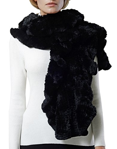 Nice Glory Women's Rex Rabbit Fur Ruffle Trim Wide Cape Scarf Black