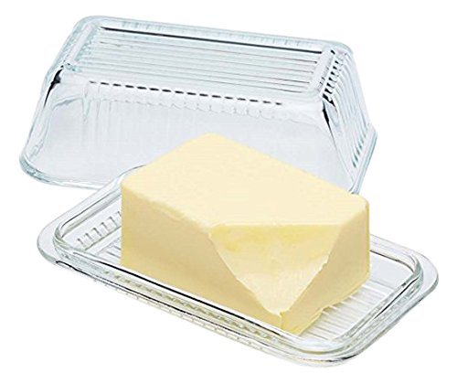 Circleware 66729 Glass Butter Dish with Lid, Multi-Purpose Preserving Serving Dessert Tray Bowl Home and Kitchen Glassware for Cream Cheese Cake, Salad, Candy, Foods, 6.75