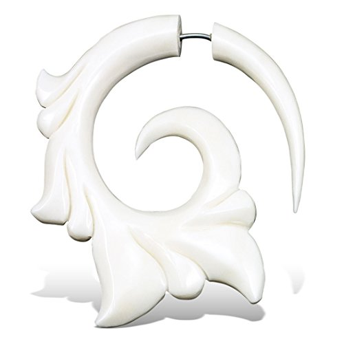 Fake Gauge Earrings Hand Carved Bone Livity Curls Medium