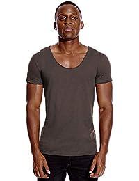 Deep V Neck T Shirt for Men Low Cut Scoop Tee Invisible Tshirt Vee Top