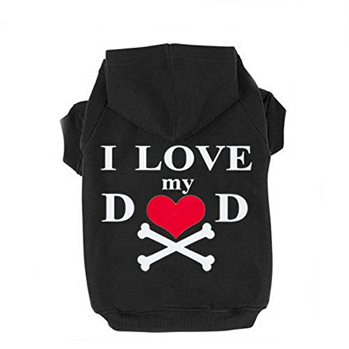 Pet Winter Hoodies , Dog Warm Clothes Cat Puppy Windproof Jumpsuit Love Heart Coat Comfortable Cotton Blend I Love My Dad Printed Hoodies (S, Black)