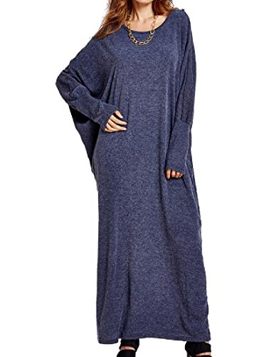 Club Navy Sleeve Fit Batwing Knit Long Maxi Women's Coolred Blue Loose Dresses gqw718
