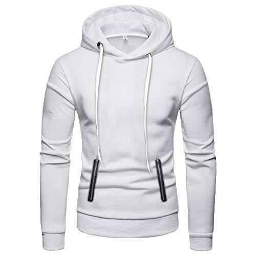 Sunhusing Men's Solid Color Double Zip Pocket Hooded Long Sleeve Sweatshirt Top Slim Fit Pullover Shirt ()