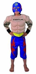 CARITAN - Disfraz de lucha libre con careta azul para niño