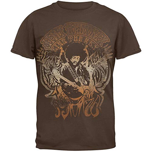 Vintage Kiss T-shirt (Jimi Hendrix - Kiss the Sky Soft T-Shirt - Large Brown)