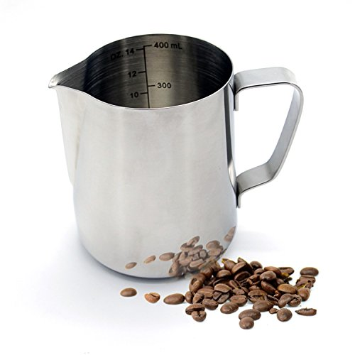 Warmoor Stainless Steel 14 Ounce Milk Frothing Pitcher, Professional Latte Milk Steaming pitcher for Espresso Machines & Latte Art by Warmoor