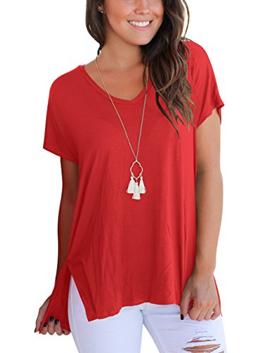 Quality Women Red T-shirt - Aokosor Short Sleeve T Shirt Women Cotton Tee Shirts Solid Basic Tees High Low Red S