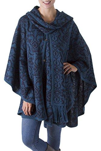 NOVICA Blue Alpaca Blend Ruana Cloak with Attached Matching Scarf, Lima Flora'