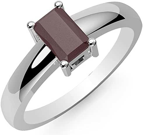 0.80ctw, Genuine Ruby 4x6mm Octagon & Solid .925 Sterling Silver Rings