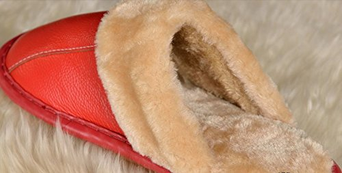 TELLW Winter Kuh Lint Pantoffeln M?nner und Frauen nach Hause rutschfeste warme Indoor Holzfu?boden Leder Hausschuhe Dunkelbraun