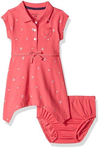 Nautica BAB Baby Girls' Newborn Shawl Collar Pique Dress,Foil Bright Pink,12 Months -