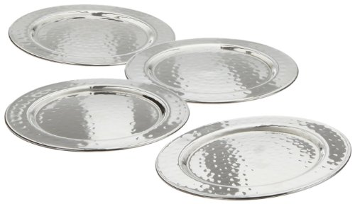 Elegance Hammered 4-Inch Stainless Steel Coasters, Set Of 4 (Chrome Coasters)