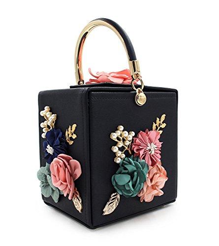 à Purses Noir KYS Mariage Sangle avec Femmes Sacs Main de détachable soirée Wallet en Flower de Square Sac Pochettes Pearl Cuir RvgRw0Wq