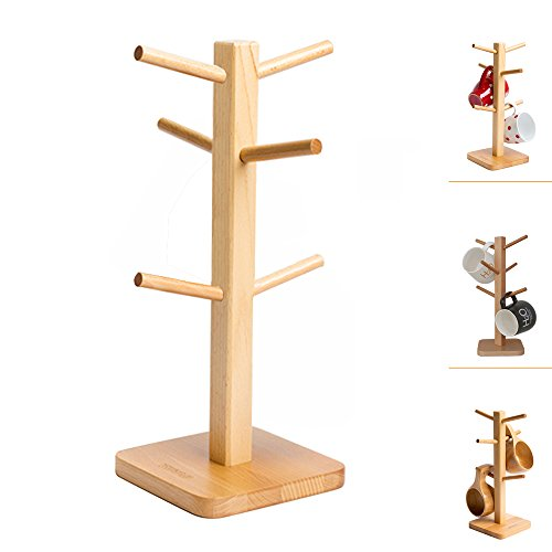 Mug Rack Tree, Wooden Mug Holder Cup Stand, Removable Stylish Mug Tree Holder Organizer Cup Rack with 6 Hooks (Natural Beech) (Wood Base Tree Jewelry Stand)