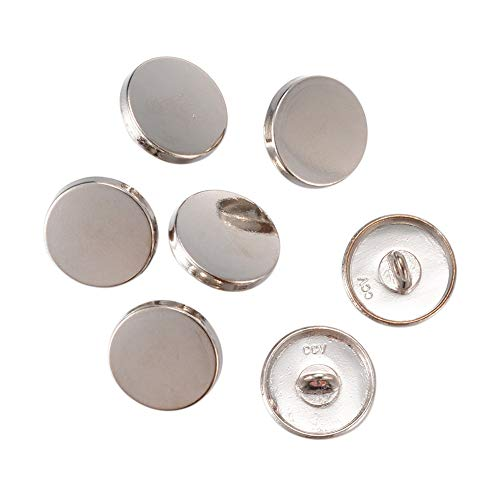 PH PandaHall About 100 Pieces Platinum Alloy Shank Blazer Buttons 15mm Flat Round Surface for Sewing Coats Suits Blazers (Silver Round Button)