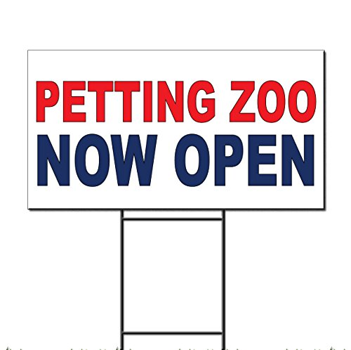 Petting Zoo Now Open Red Blue Corrugated Plastic Yard Sign /Free Stakes 18 x 24 inches One Side Color ()