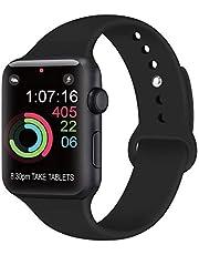 AK Compatible avec Apple Watch Bracelet 42mm 38mm 44mm 40mm, Bracelet de Sport en Silicone Remplacement Compatible la série 4, la série 3, la série 2, la série 1 d'iWatch (06 Bleu Clair, 38/40mm M/L)