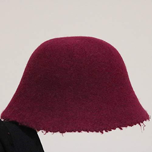 (Morocco) Niche Pure Wool hat Cap Women Girls Autumn Winter Abstinence pots Retro Woolen Burr (Burgundy