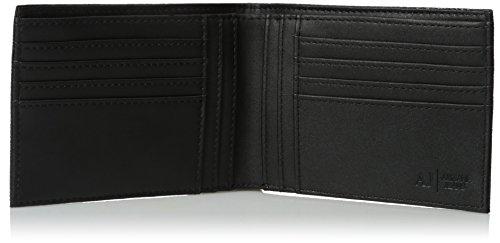 Over Bifold Jeans Wallet Logo All Men's Pu 13x10x2 Black Armani Yt1qq