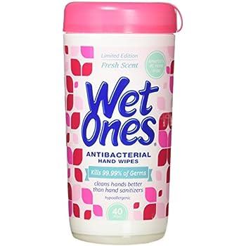 WET ONES Antibacterial Hand Wipes, Fresh Scent 40 ea (Pack of 3)