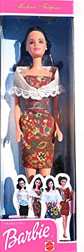 Modern Filipina Barbie with White Shawl and Reddish Brown Floral Dress (2001)