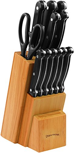 Utopia Kitchen Stainless Steel Knife Block Set 13 Piece Set - Rubber Wood Block 6 13 piece knife set comes with conservative blade thickness and has an elite design that allows for easy handling of the knives Knife blades are made from 2Cr13NH grade stainless steel Polypropylene plastic is used on the handles which possesses high flexural strength because of its semi-crystalline nature. it is resistant to moisture and chemicals, over a wide range of bases and acids