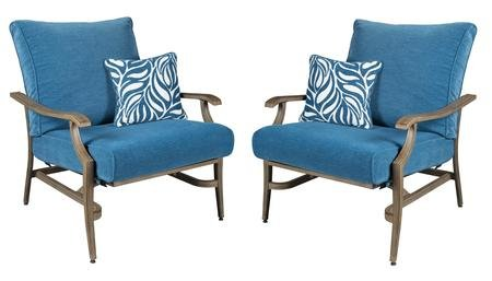 Ashley Furniture Signature Design - Partanna Motion Lounge Chair with Pillow - Set of 2 - Outdoor - Rust Free Aluminum Chairs - Blue & (Motion Lounge Chair)