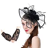 U-Zomir Fascinator Hat Feather Mesh Party Hat Flower Wedding Derby Cocktail Tea Party Headband with Clip and Lace Glove for Girls and Women (Style 1-Black)