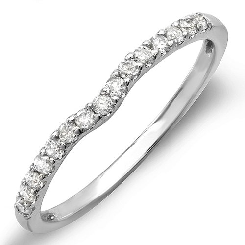 0.25 Carat (ctw) 14K White Gold Round White Diamond Anniversary Wedding Ring Matching Band 1/4 CT (Size 6) by DazzlingRock Collection