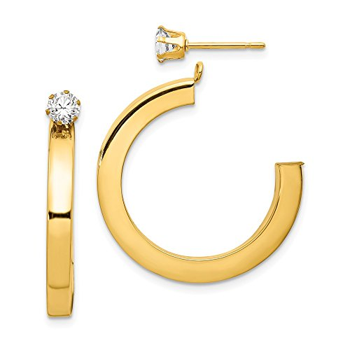 Jewel Tie 14k Yellow Gold Polished J Hoop with CZ Cubic Zirconia Stud Earring Jackets (3mm x 32mm) ()