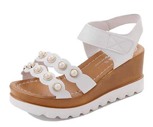 2017 verano nuevo gruesa base pendiente con sandalias expuestos toe plana abajo de zapatos de tacón alto 1