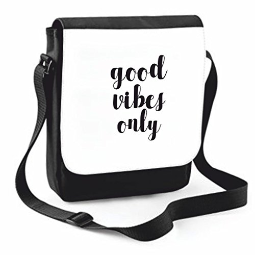 Messenger Positive Traveling Good Bag Vibes Shoulder Only Cover Case Statement Compartment Medium Black Handbag Crossbody Large wXxq4FTPEx