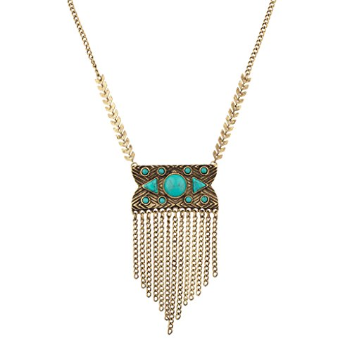 Lux Accessories Synthetic Turquoise Stone Tribal Fringe Statement Necklace -